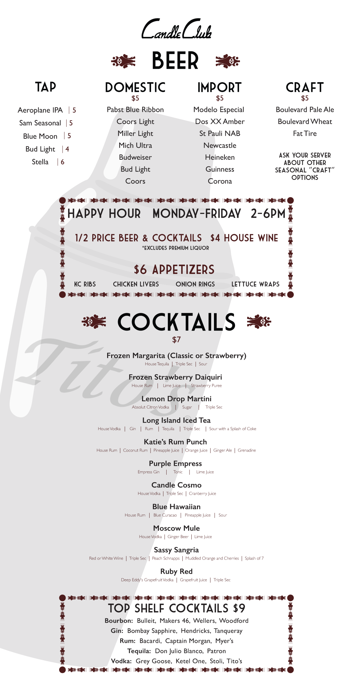 Wine and Cocktail Menu